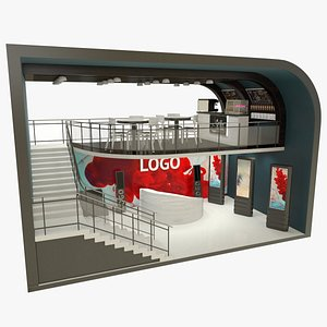 3D Exhibition stand and cafe model