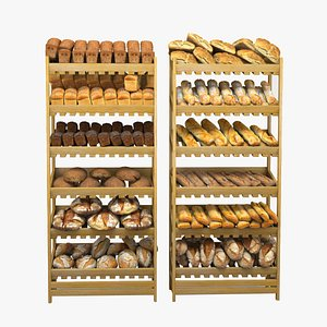 Baked Bread, bun and loaf collection on shelf 3D model