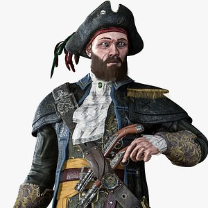 captain pirate character 3D model