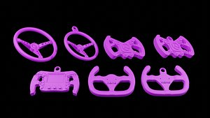 steering wheel Formula One Keychains Print 3d - blender 3d model