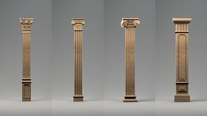 3D greek columns ancient