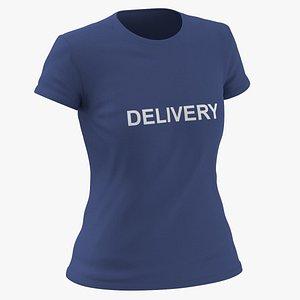 Female Crew Neck Worn Dark Blue Delivery 01 3D model