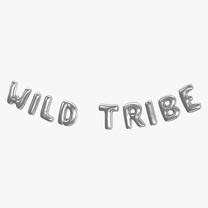 3D Foil Baloon Words Wild Tribe Silver