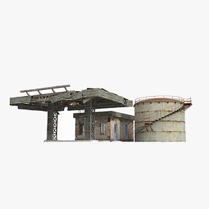 3D A dilapidated field gas station