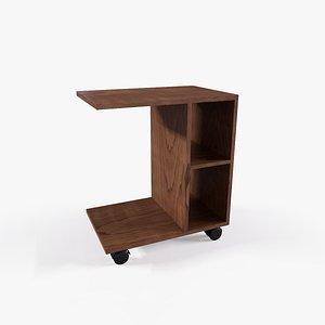 Heather Side Table teak finish 3D model