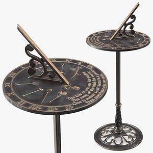 3D solid brass sundial pedestal