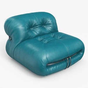 3D Soriana Lounge Chair Leather PE model
