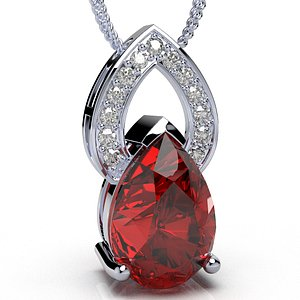 3D pendant design pear shape