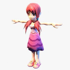 3D model anime girl red