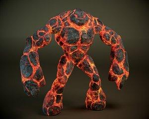 3d model magma golem rigged