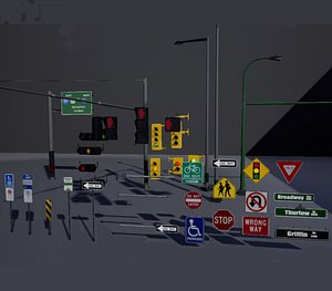 3D Traffic Lights and Lamps model
