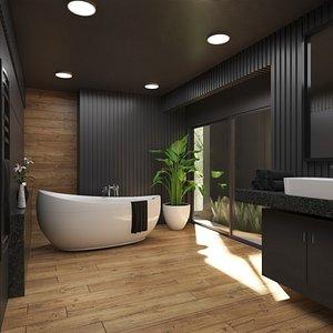Bathroom Interior in Black Color Scheme model