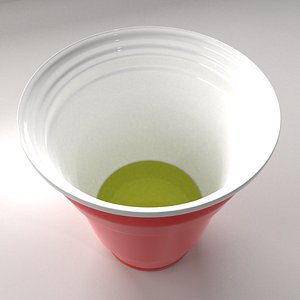 Red Plastic Cup with Half Liquid model