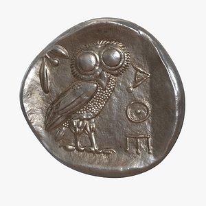 Tetradrachm Athens Ancient Coin 3D