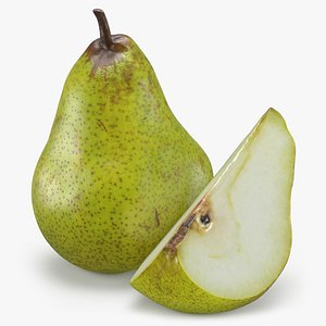Whole Pear and Slice 3D