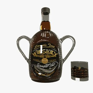 3D model A BEAUTIFUL WHISKEY BOTTLE WITH WHISKEY GLASS
