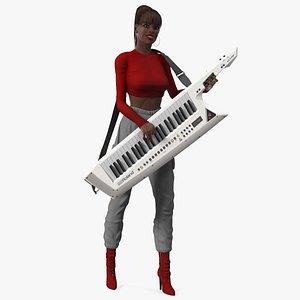Dark Skin Woman with Roland AX Edge Keytar Rigged 3D model