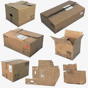 3D model Cardboard Boxes Old UHD