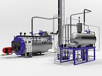 Steam boiler plant with equipment