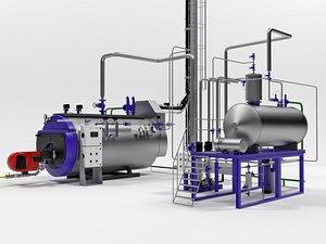 Steam boiler plant with equipment model