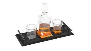 3D model Quadro Whisky Decanter Gift Set and Handmade Slate Tray