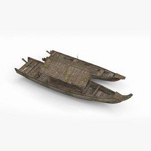3D Ancient Asian wooden boat