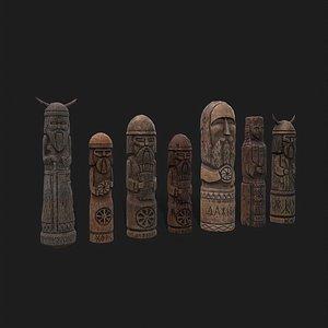 Seven Sculpted Viking Figurines model