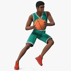 Light Skin Teenager Basketball Player Playing Pose 3D model
