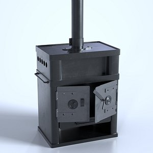Cast Iron Black Wood furnace 3D model