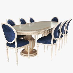3D Classic Dining Table With Chairs model