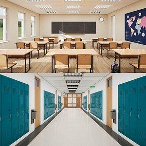 3D classroom corridor hallway