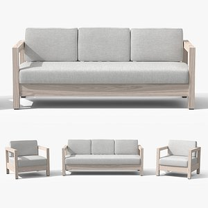Arca Driftwood Gray Sofa Set 3D model