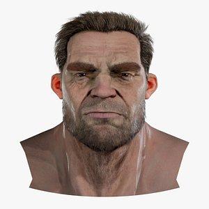Realistic model of male head Marshall 3D model