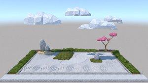 Japanese garden Karesansui pattern ripples 3D model
