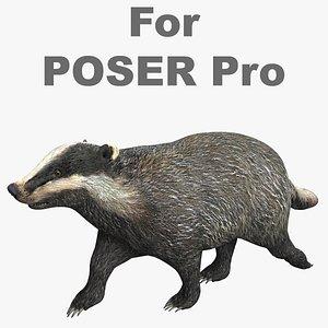 3D badger poser model