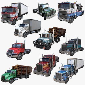 Industrial american trucks PBR collection 3D model