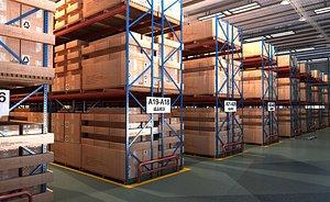 Warehouse shelves logistics express cabinet factory goods 3D model