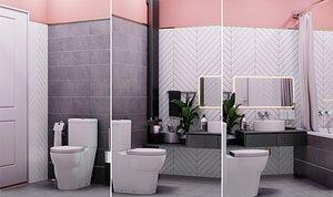 interior modern bathroom decorative 3D model