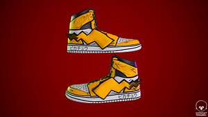 Sneakers nike jordan 1 Pikachu game ready pbr Low-poly 3D model 3D model