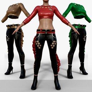 Women Fashion Gothic Punk Leather Pants model