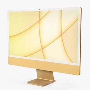 Apple iMac 2021 Yellow 3D model