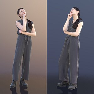 woman young thinking 3D
