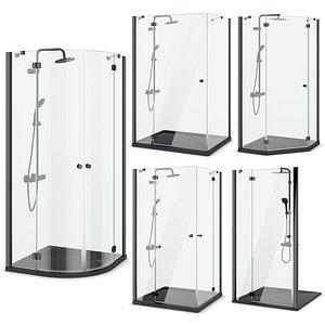 3D Shower cabins Radaway Nes 8 Black set 135 model