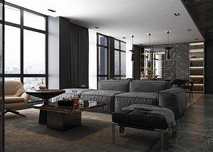 3D interior apartment scene