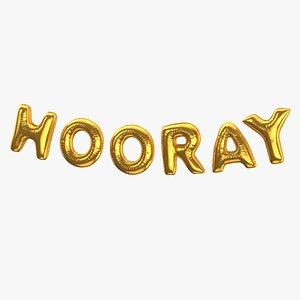 Foil Balloon Words Hooray Gold 3D model