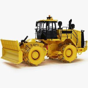 landfill wheeled bulldozer compactor 3D model