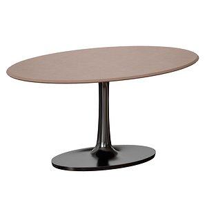 3D Nero Oval Concrete Top Table with Matte Black Base model