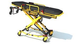 3D model stretcher ambulance gurney
