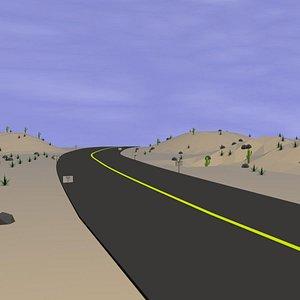 low poly cartoon desert road 3D model