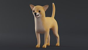 Dog Chihuahua Low Poly Model Game AR VR 3D model